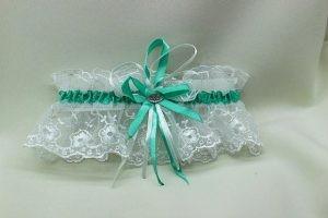 Подвязка невесты белая с мятным