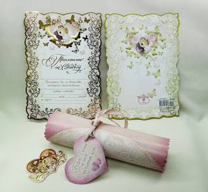 Пригласительные свадебные свитки золото