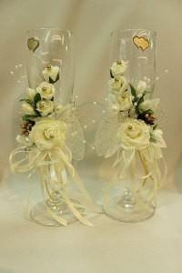 Свадебные бокалы айвори шампань с золотом