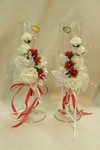 Свадебные бокалы белые с красным