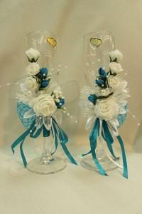 Свадебные бокалы бирюзовые