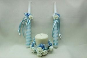 Семейный очаг, свадебные свечи голубые