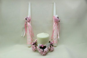 Семейный очаг, свадебные свечи розовые