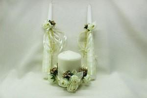 Семейный очаг, свадебные свечи айвори шампань с золотом