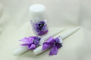 Семейный очаг, свадебные свечи сиреневые