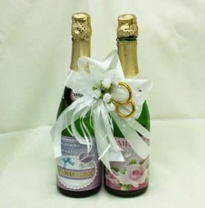 Украшение на свадебное шампанское белое
