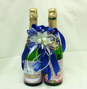 Украшение на свадебное шампанское синие