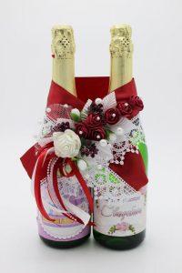 Украшение на шампанское бордовый цвет