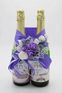 Украшение на шампанское сиреневый цвет