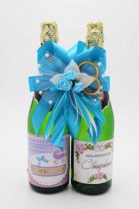 Украшение на шампанское бирюзовое