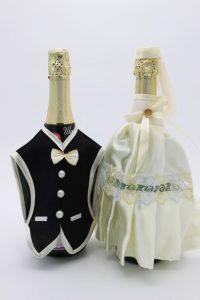 Украшение на шампанское жених и невеста черное айвори