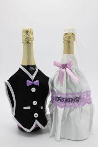 Украшение на шампанское жених и невеста белое с сиреневым