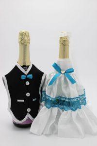 Украшение на шампанское жених и невеста белое с бирюзовым