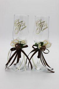 Свадебные бокалы шоколадные Совет да любовь