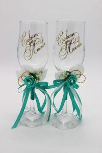 Свадебные бокалы мятные Совет да любовь