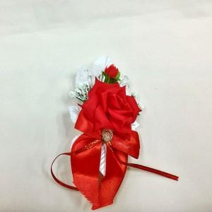 Бутоньерка красная с белым для жениха. Свадебные аксессуары