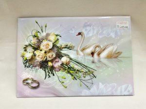 Свидетельство о браке с лебедями цветами